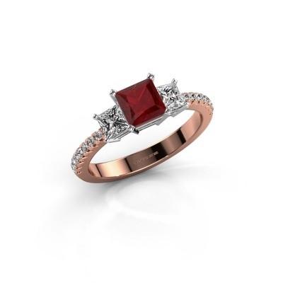 Verlovingsring Dorla 585 rosé goud robijn 5 mm