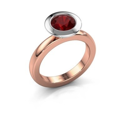 Stacking ring Trudy Round 585 rose gold ruby 7 mm
