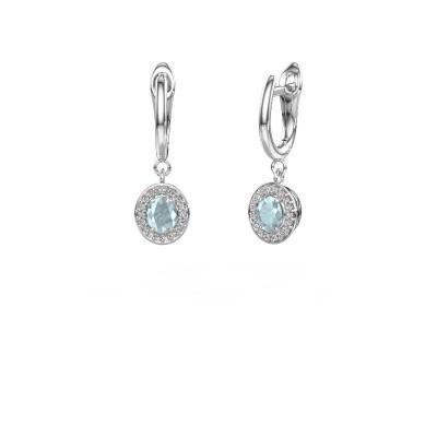 Drop earrings Nakita 585 white gold aquamarine 5x4 mm