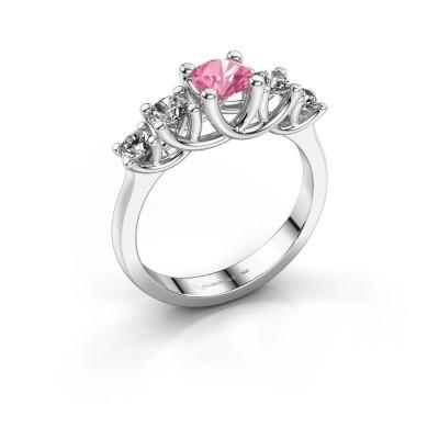 Engagement ring Jet 950 platinum pink sapphire 5 mm