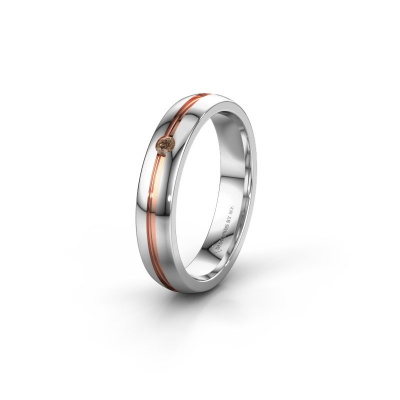 Trouwring WH0424L24A 585 witgoud bruine diamant ±4x1.7 mm