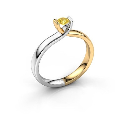 Foto van Verlovingsring Noor 585 goud gele saffier 3.7 mm