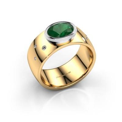 Ring Wilma 2 585 goud smaragd 8x6 mm