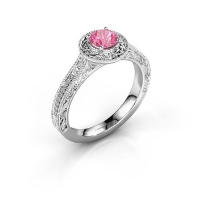 Verlovings ring Alice RND 925 zilver roze saffier 5 mm