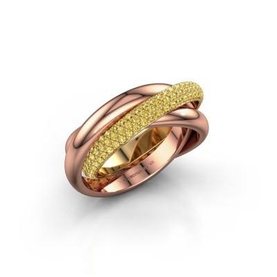 Ring Trinity 2 585 goud gele saffier 1 mm