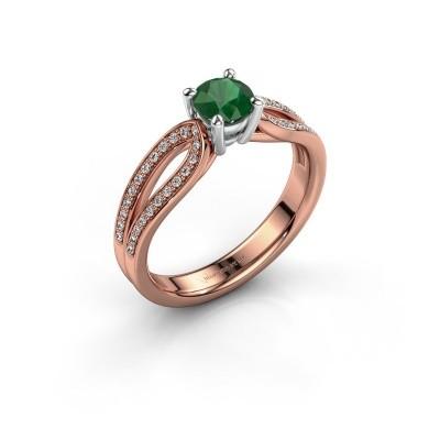 Verlovingsring Antonia 2 585 rosé goud smaragd 5 mm