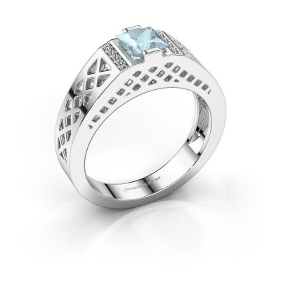 Heren ring Jonathan 950 platina aquamarijn 5 mm