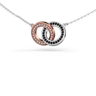 Halsketting Circles 2 585 rosé goud zwarte diamant 0.275 crt