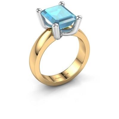 Ring Clelia EME 585 goud blauw topaas 10x8 mm