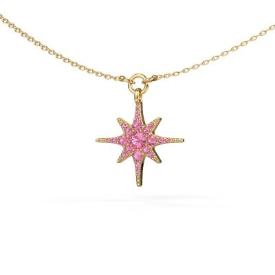 Halsketting Star 375 goud roze saffier 3 mm