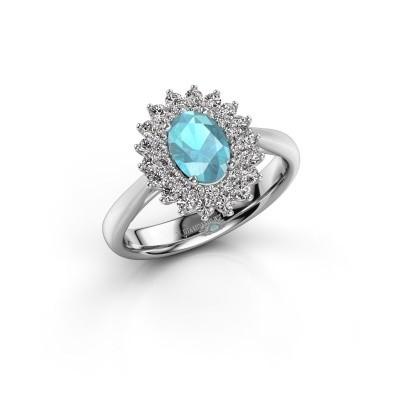 Verlovingsring Alina 1 925 zilver blauw topaas 7x5 mm