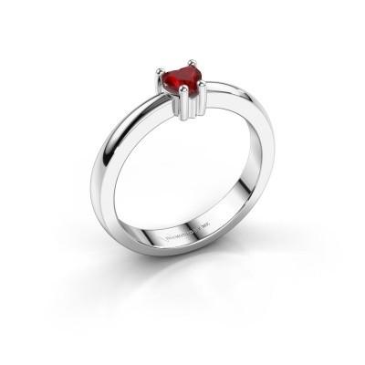 Foto van Aanzoeksring Florentina heart 585 witgoud robijn 4 mm