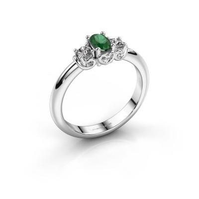 Foto van Verlovingsring Frederique 585 witgoud smaragd 5x3 mm