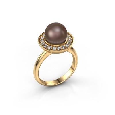 Foto van Ring Sarah 375 goud bruine parel 9 mm