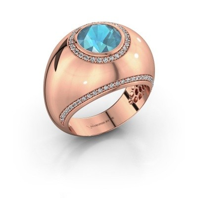 Ring Roxann 375 rose gold blue topaz 8 mm
