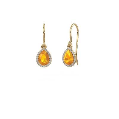 Foto van Oorhangers Seline per 585 goud citrien 7x5 mm
