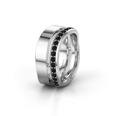 Weddings ring WH6008L18BP 585 white gold black diamond ±10x2 mm