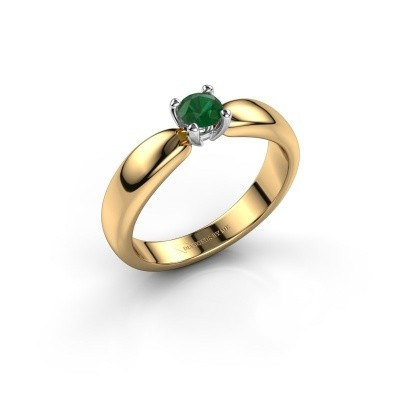 Promise ring Katrijn 585 gold emerald 4.2 mm