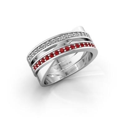 Ring Margje 585 witgoud robijn 1.3 mm