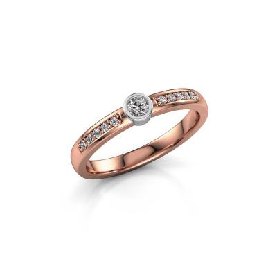 Engagement ring Ise 2 585 rose gold diamond 0.155 crt