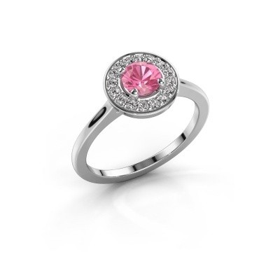 Ring Agaat 1 950 platina roze saffier 5 mm