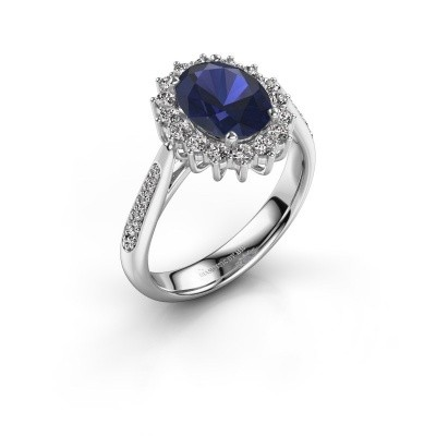 Picture of Engagement ring Margien 2 585 white gold sapphire 7x5 mm