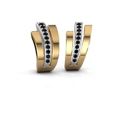 Oorbellen Emeline 585 witgoud zwarte diamant 0.24 crt