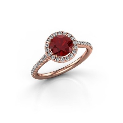 Picture of Engagement ring Marty 2 375 rose gold ruby 6.5 mm