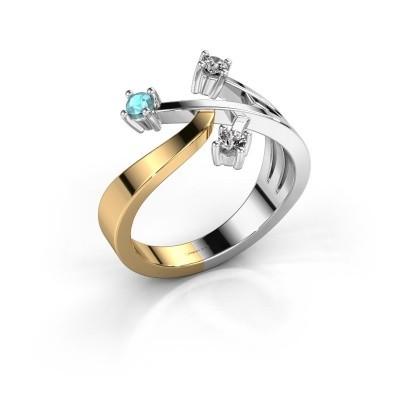 Ring Lillian 585 goud blauw topaas 2.5 mm