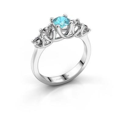 Engagement ring Jet 925 silver blue topaz 5 mm
