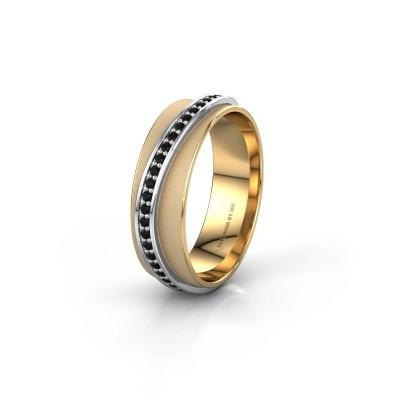 Bague de mariage WH2126L 585 or jaune diamant noir ±6x1.7 mm
