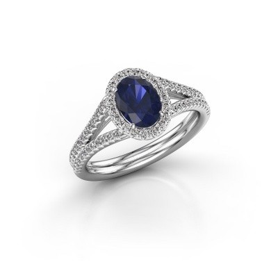 Engagement ring Rachele 2 925 silver sapphire 7x5 mm