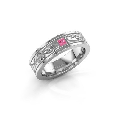 Foto van Heren ring Matijs 585 witgoud roze saffier 3 mm