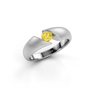 Foto van Ring Hojalien 1 925 zilver gele saffier 4.2 mm