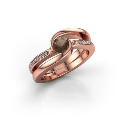 Foto van Ring Xenia 375 rosé goud rookkwarts 5 mm