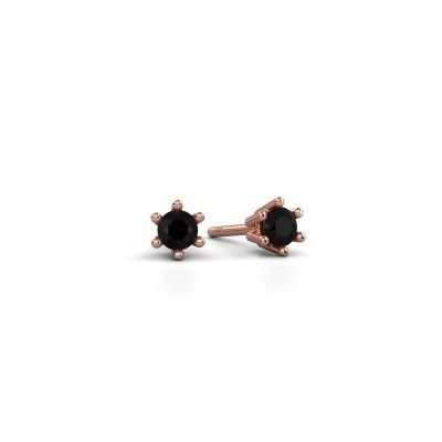 Oorbellen Fay 375 rosé goud zwarte diamant 0.18 crt