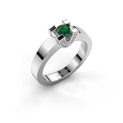 Verlovingsring Jasmijn 1 585 witgoud smaragd 4.2 mm