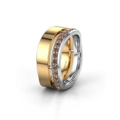 Weddings ring WH6008L18BP 585 gold brown diamond ±0.39x0.08 in