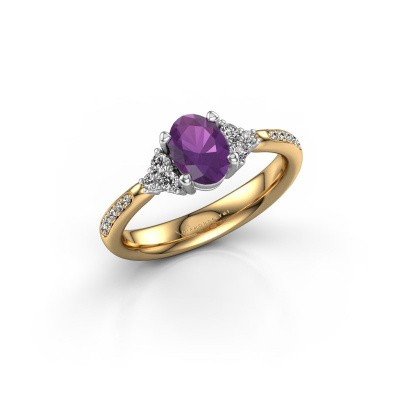 Picture of Engagement ring Aleida OVL 2 585 gold amethyst 7x5 mm
