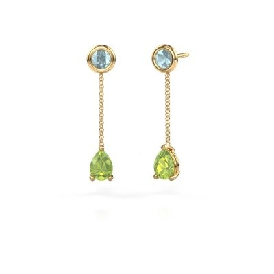 Picture of Drop earrings Laurie 3 375 gold peridot 7x5 mm