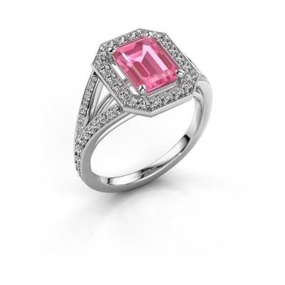 Promise ring Angelita EME 950 platina roze saffier 8x6 mm
