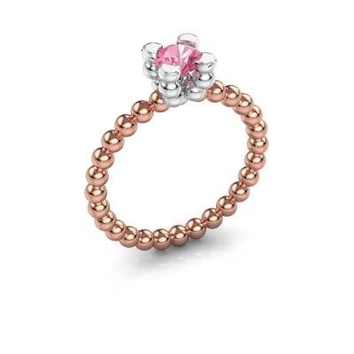 Ring Aurore 585 rosé goud roze saffier 5 mm