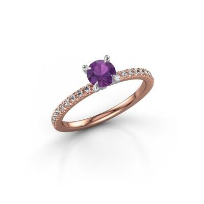 Foto van Verlovingsring Crystal rnd 2 585 rosé goud amethist 5 mm