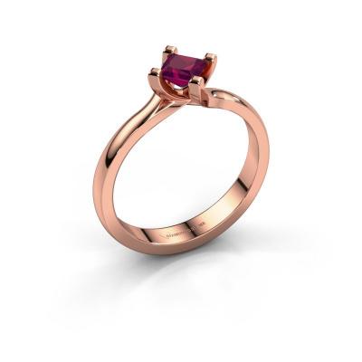 Engagement ring Dewi Square 585 rose gold rhodolite 4 mm