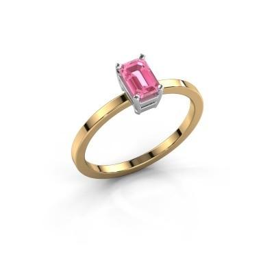 Verlovingsring Denita 1 585 goud roze saffier 6x4 mm