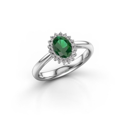 Picture of Engagement ring Tilly ovl 1 585 white gold emerald 7x5 mm