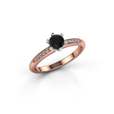 Foto van Verlovingsring Tiffy 2 585 rosé goud zwarte diamant 0.48 crt