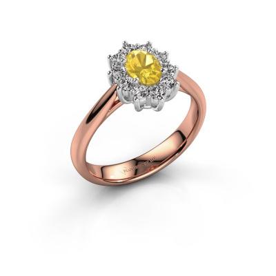 Foto van Verlovingsring Leesa 1 585 rosé goud gele saffier 6x4 mm