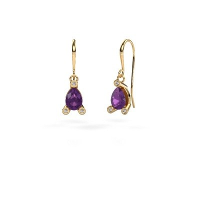 Picture of Drop earrings Bunny 1 585 gold amethyst 7x5 mm