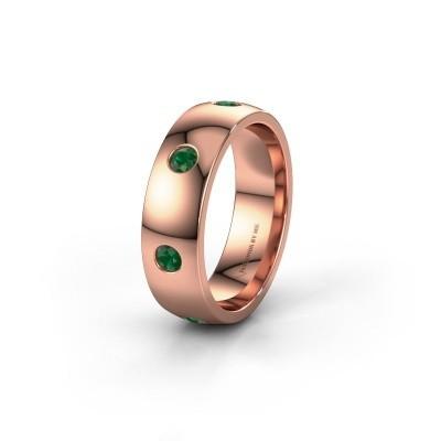 Wedding ring WH0105L26BP 375 rose gold emerald ±6x2 mm